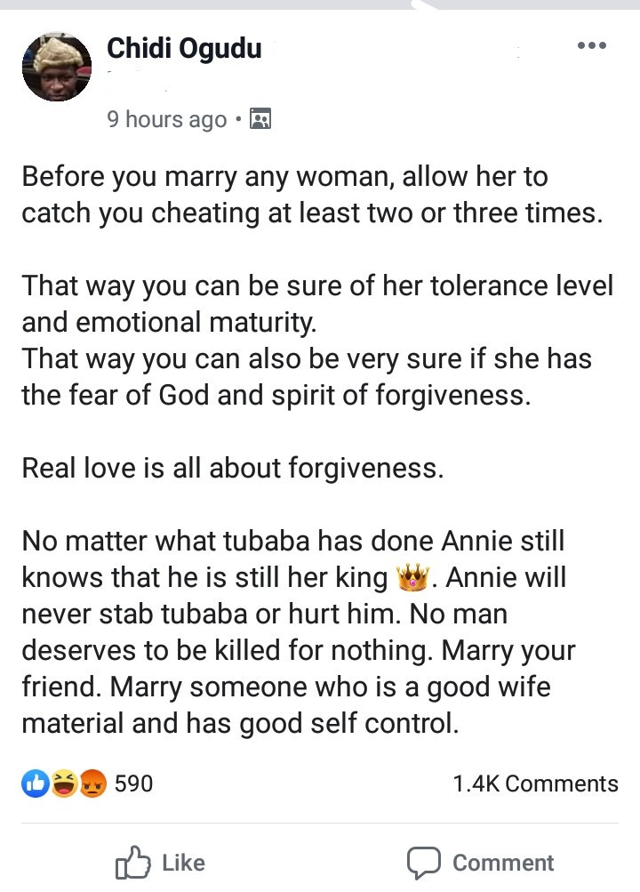 Before you marry any woman, allow her to catch you cheating at least two or three times to test her emotional maturity-'wise' Lawyer advises, Before you marry any woman, allow her to catch you cheating at least two or three times to test her emotional maturity-'wise' Lawyer advises, GHSPLASH.COM, GHSPLASH.COM