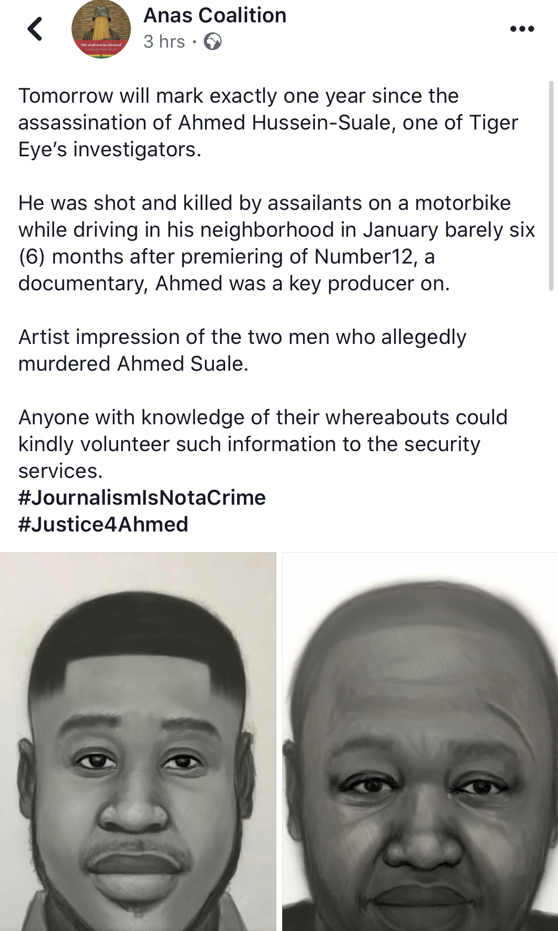 , Tomorrow is exactly one year Ahmed Suale was shot dead; Anas shares images of Killers, GHSPLASH.COM, GHSPLASH.COM